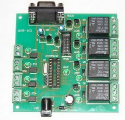 AVR-I/O development board 4 optoisolated inputs and 4 relay outputs (с контролером ATtiny2313)